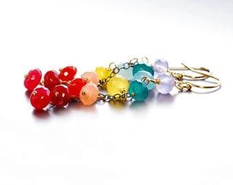 Rainbow Jade Dangle Earrings. Colorful Gemstone Cluster Earrings.