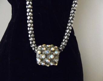 Premier Designs Necklace AB Rhinestones Silver Tone Metal