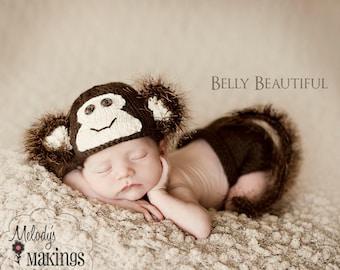 Baby Monkey Outfit - Handmade Baby Halloween Costume - Monkey Photo Prop - Newborn Monkey Animal Set