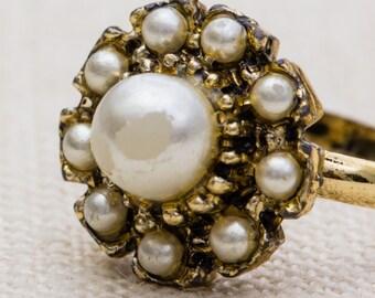 Pearl Flower Vintage Ring Gold Metal Adjustable 7RI
