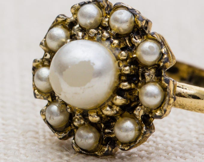 Pearl Flower Vintage Ring Gold Metal Adjustable 7RI