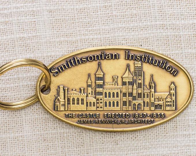 Smithsonian Institution Vintage Keychain Made in USA Castle Landmark Key FOB Solid Brass Key Chain 7KC