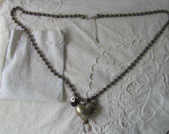 Satellite Paris Metallic Bead Puffy Heart Necklace Fashion Week