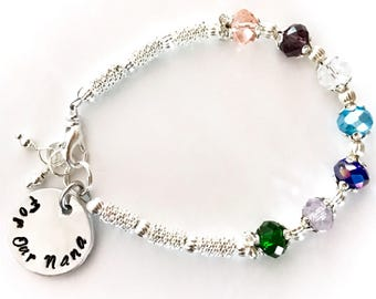 Personalized silver plated Birthstone Bracelet for Mothers Grandmothers friends with handstamper pendant