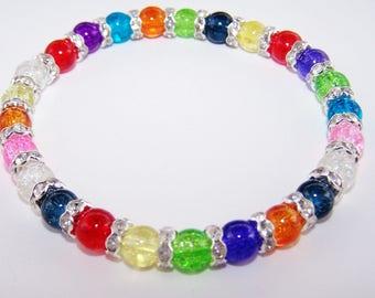 Colorful crackle glass rhinestone bracelet pink crackle glass hanging earring set