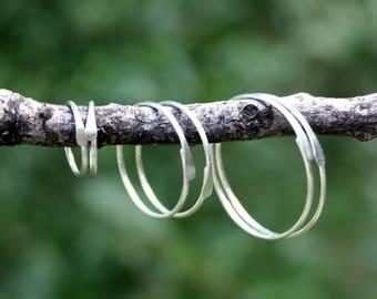 Set Of 3 Pairs - Sterling Silver Hoops - 18 or 20 Gauge Hoop Earrings - Sleepers - Gift Set - Two Feathers Jewelry - Multiple Piercings