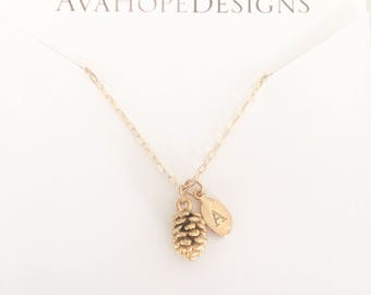 Personalized Gift for Women, Initial Necklace, Gold Necklace, Gold Pine Cone Necklace Dainty Gold Necklace, Bridesmaid gift, Best seller