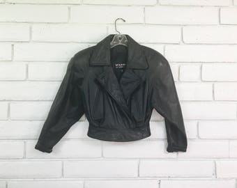 80's WILSON's CROPPED LEATHER jacket vintage xS crop black leather shoulder pads