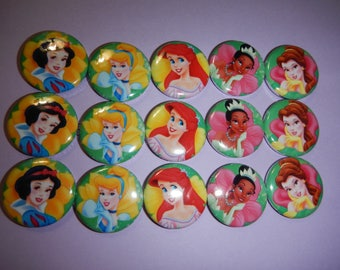 15 Princess Pinback Button Shower Goody Gift Treat  Party Favors Brooches