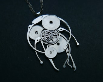 "Watch Parts Pendant ""Gamma"" Cosmic Alien Jellyfish Beautiful Mechanical Watch Sculpture Necklace Industrial Steampunk Art Mechanical Mind"