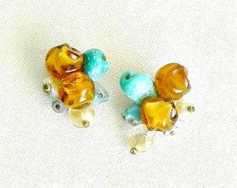 Vintage Hattie Carnegie Earrings, Beaded Cluster Earrings, Clip On, Amber and Turquoise, Signed Designer 1950s