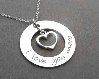 Anniversary Necklace / I Love You More Necklace - Sterling Silver Anniversary Gift - love necklace - For couples, girlfriend, wife, daughter