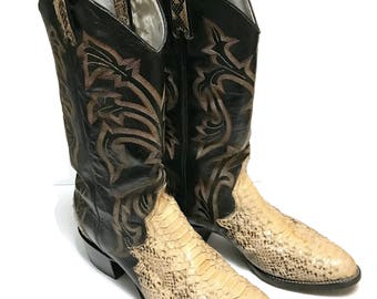 Vintage Larry Mahan Snake and Leather Cowboy Boots Mens size 10 D c1980, made in Texas