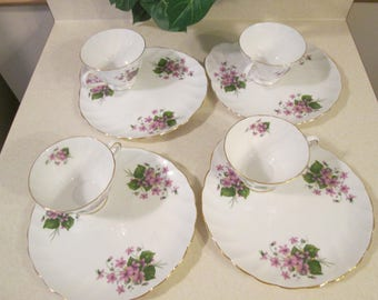 Vintage Snack/Luncheon Plate and Tea Cup Set, Mid Century Bridal Shower, Wedgewood Group, Made in England Violet Plates and Tea Cups,