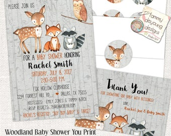 Digital Woodland Animal Baby Shower Invitation Thank You Note & Stickers Gender Neutral Baby Invite, Forest Animals Woodland Cupcake topper