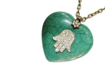 Hamsa necklace, evil eye necklace, Turquoise stone, heart necklace, turquoise necklace, turquoise stone jewelry, natural stone
