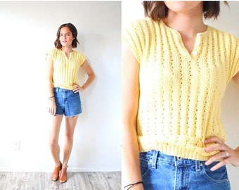 30% OFF SALE Vintage yellow short sleeve sweater top // boho knit sweater // boho short sleeve sweater // short sleeve top // crochet sleeve