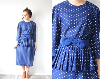30% OFF PRESIDENTS SALE Vintage blue polka dot 1960's dress // retro peplum dress // polka dot dress // blue modest dress // fall winter dre