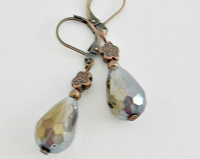 Antique copper dangle earrings with grey golden czech glass drop and antique copper flower bead, romantic, vintage, victorian, retro, sweet