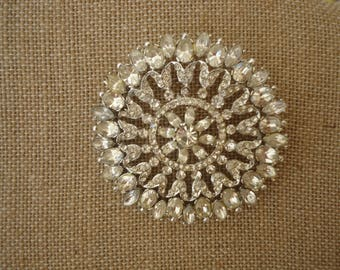 Vintage Large Clear Rhinestone Brooch, Mixed Shape Stones, Silver Tone Metal, Hollywood Glamour