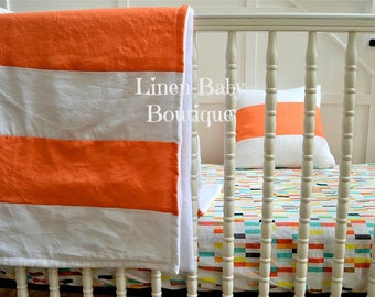 Baby Bedding, Crib Bedding. 2 Pieces. Fitted Sheet and Orange Stripe Linen Blanket. Pillow Included. Ready to Ship!