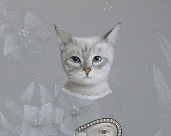 On Sale cat portrait, lover eye PRINT Art Acrylic Painting Animal Painting Wall Decor Wall hanging Wall Art gift for woman for her