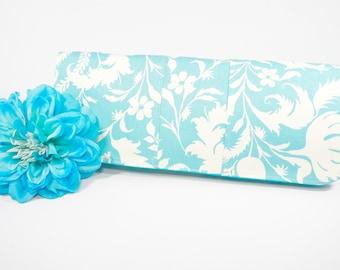 Simply Clutch | Aqua Floral Everyday Clutch | Wedding Clutch | Evening Clutch Purse | Baguette Bag | Bridesmaid Clutch | Bridal Purse
