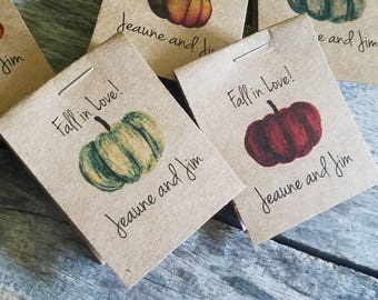 Personalized MINI Seeds Pumpkin themed Fall in Love Sunflowers Flower Seed Packet Bridal Wedding Shower Favors Shabby Chic Rustic Cheap