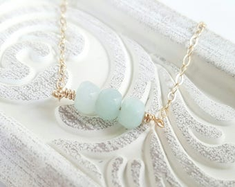 Gemstone Bar Necklace - Gold Beaded Necklace - Amazonite Gemstone Mint Necklace - Mint Bar Necklace - Rose Gold Necklace - Dainty Necklace