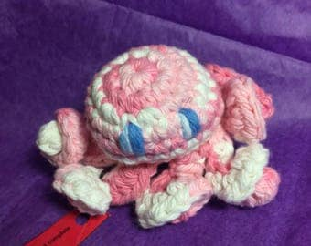 Ready to ship Crochet cotton amigurumi pink white ombre octopus stuffed toy