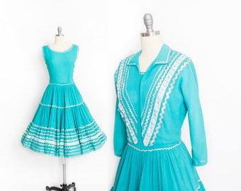 Vintage 1950s Patio Dress Set - Aqua Blue + Silver Ric Rac Full Skirt + Jacket Squaw Ensemble