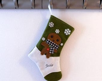 CHRISTMAS IN JULY Gingerbread Cookie Personalized  Christmas Stocking by Allenbrite Studio