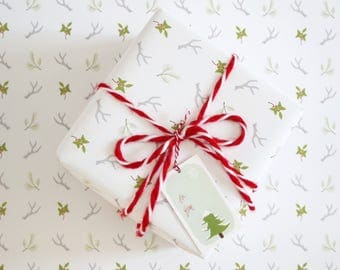 Gift Wrap Sheets - Antlers & Greenery