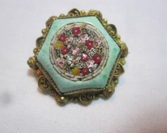 Vintage Micro Mosaic and Peking Glass Brooch