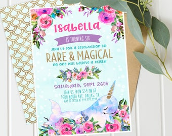 Magical Narwhal Unicorn under the Sea Invitations- Purple Floral Gold - Printable - Magical Narwhal Unicorn Girls Birthday Party - Digital