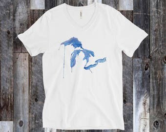 Sacred Waters Watercolor Tee, Great Lakes T-Shirt, Great Lakes Gift, Great Lakes, Great Lakes art, Michigan T-Shirt, Drippy Great Lakes