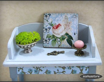 Miniature floral sign, 1:12th scale dollhouse decor, country style, shabby cottage chic, dollhouse miniature sign