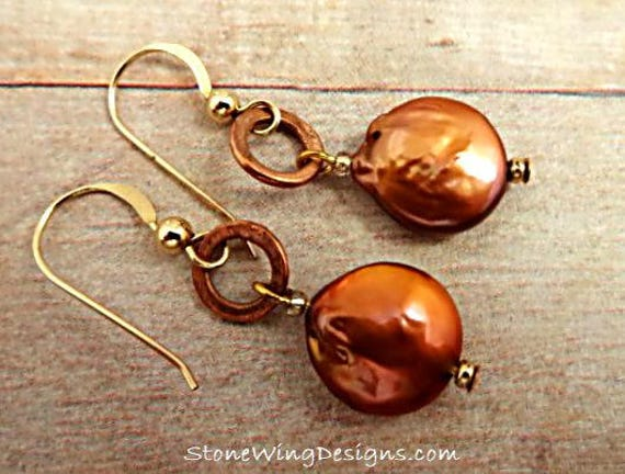 Copper Coin Pearl and Copper Ring Earrings
