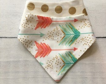 FREE US SHIPPING Bandana Bibs (set of 2) in Bright Watercolor Arrows Shot in the Water and Gold Metallic Dots // coral + aqua mint +gold