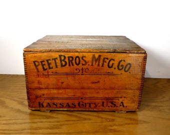 Peet Brothers Soap Company Wooden Advertising Crate Kansas City Kansas Early 1900's Primitive Farmhouse Decor Rustic Home Decor