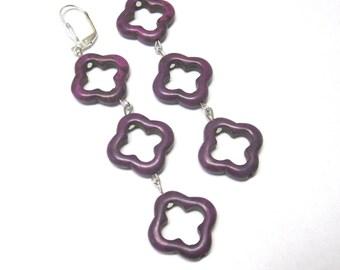 Purple Quatrefoil Earrings Long Dangle Leverback
