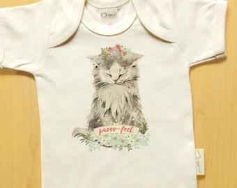 Kitty Cat onesie tshirt, purrr-fect, baby girl, cute baby clothes, kitten, cat baby clothes, flowers