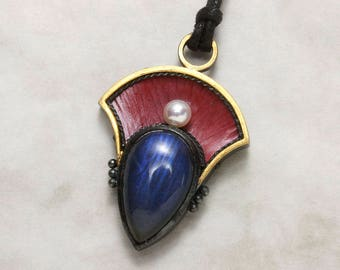 Blue Labradorite pendant necklace, Japanese red copper Hido pendant necklace, oxidized silver pendant necklace, Keum Boo pendant necklace