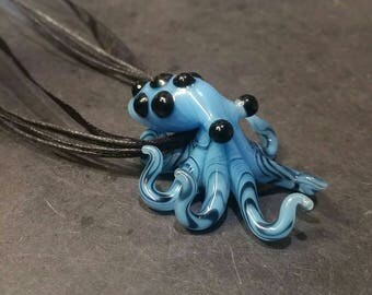 READY TO SHIP - Glass Octopus pendant Sky Blue Spotted