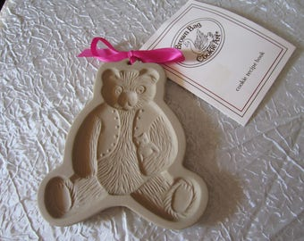 Brown Bag Cookie Art Teddy Bear Mold and Recipe Book Dated 1984