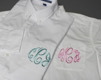 Monogrammed White Button Shirts - Monogram Bridesmaid Shirts - Getting Ready Shirts - Wedding Party Outfit - White Button Down Shirt