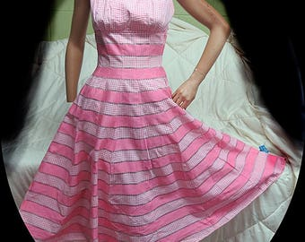 1950's Peach Cotton Day  Dress  #395