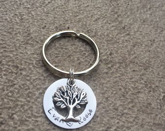 Stainless Steel Personalized Key Chain with Tree Charm