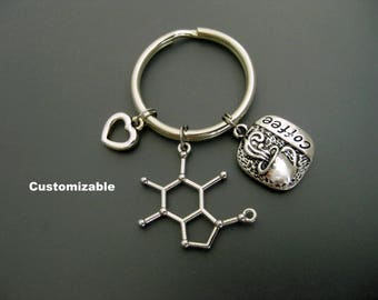 Caffeine Molecule Keychain / Coffee Keychain / Coffee Lover Keychain / Gift for Coworker / Coffee Addict Keychain / Coffee Key Ring  /