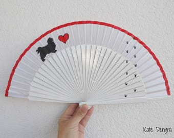 Love Dogs SIZE OPTIONS Hand Painted Wooden Hand Held Fan Made to order by Kate Dengra Spain